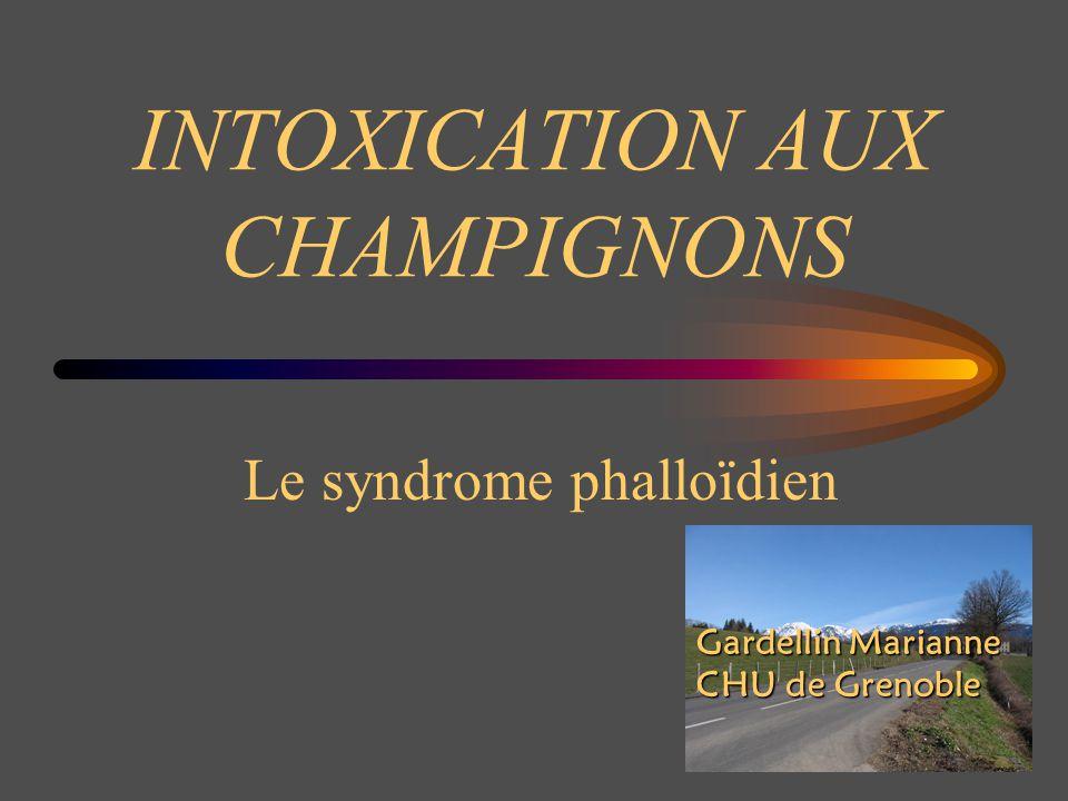 Syndrome narcotinien 120 espèces hallucinogènes Bénin, le plus souvent volontaire Début 30mn à 1h après ingestion : effets psychodysleptiques avec altération de la perception temporo-spatiale, sans trouble de conscience : « voyage » de 2 à 4 h, régressif en 6 à 12h toxine = psilocine, son métabolite agit sur les récepteurs sérotoninergiques Conduite à tenir Traitement symptomatique : sédatifs (benzodiazépines) Hospitalisation : rarement nécessaire ( protection pour le patient ) Lavage gastrique si délai < 1 heure après l ingestion psilocybe