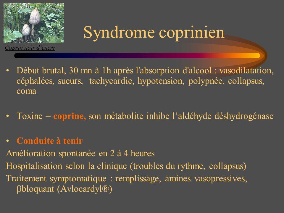 Syndrome coprinien Début brutal, 30 mn à 1h après l'absorption d'alcool : vasodilatation, céphalées, sueurs, tachycardie, hypotension, polypnée, colla
