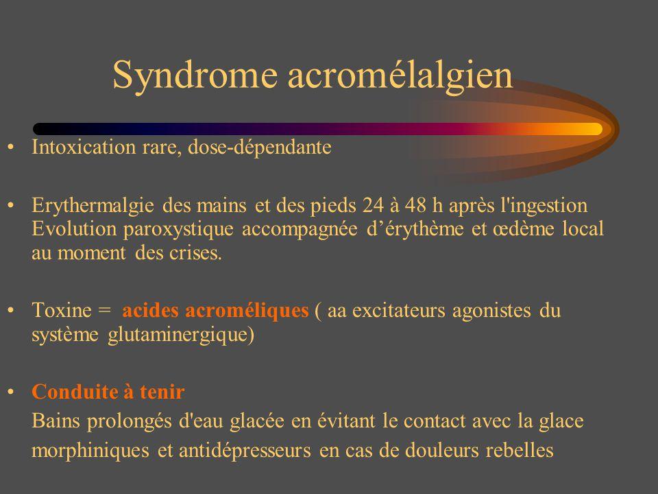 Syndrome acromélalgien Intoxication rare, dose-dépendante Erythermalgie des mains et des pieds 24 à 48 h après l'ingestion Evolution paroxystique acco