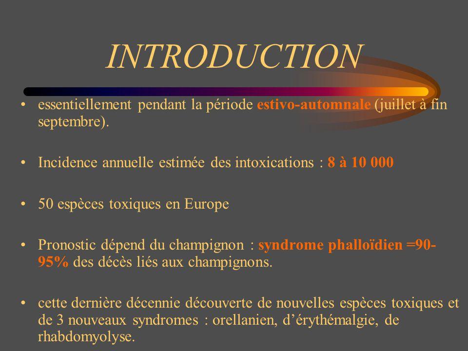 Les différents syndromes Classification en fonction des symptômes et des latences Latence < 6 h : - syndrome gastro-intestinal (résinoïdien) - syndrome muscarinique (cholinergique) - syndrome panthérien (anticholinergique) - syndrome coprinien - syndrome narcotinien (hallucinatoire) - syndrome paxillien