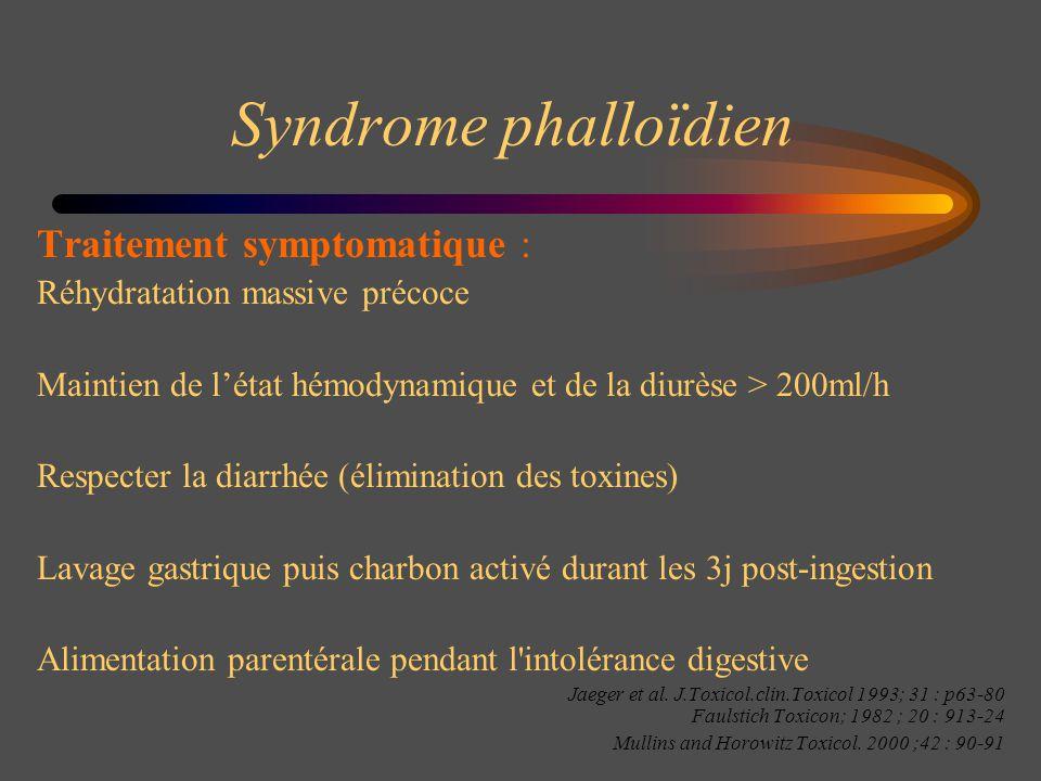 Syndrome phalloïdien Traitement symptomatique : Réhydratation massive précoce Maintien de létat hémodynamique et de la diurèse > 200ml/h Respecter la