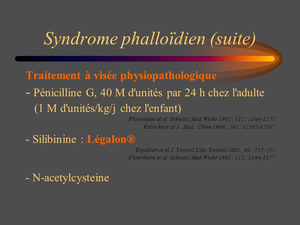 Syndrome phalloïdien (suite) Traitement à visée physiopathologique - Pénicilline G, 40 M d'unités par 24 h chez l'adulte (1 M d'unités/kg/j chez l'enf