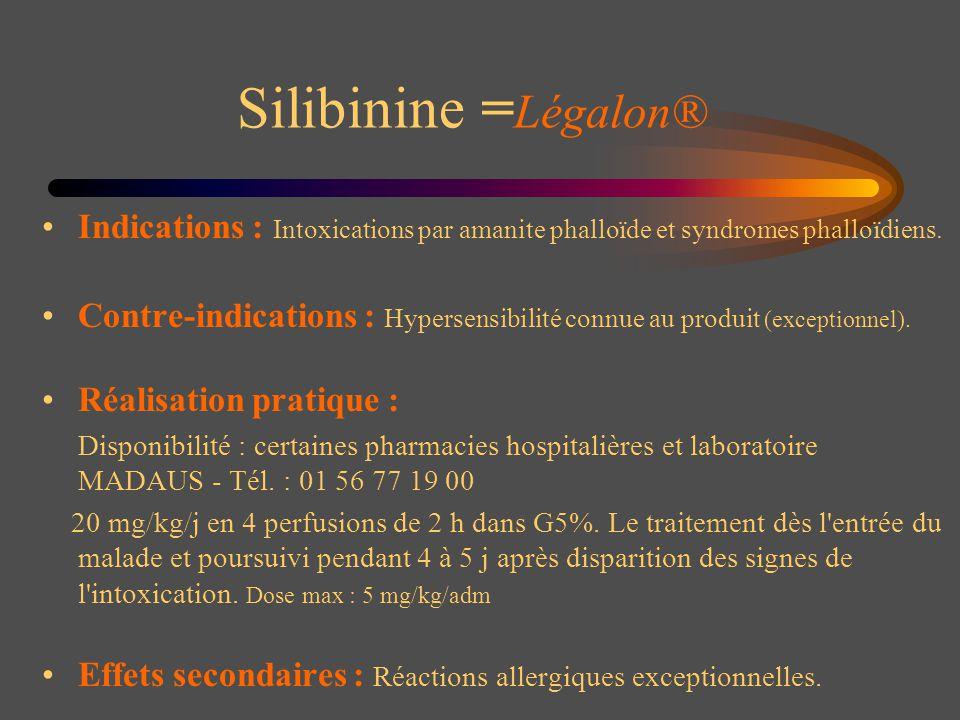 Silibinine = Légalon® Indications : Intoxications par amanite phalloïde et syndromes phalloïdiens. Contre-indications : Hypersensibilité connue au pro