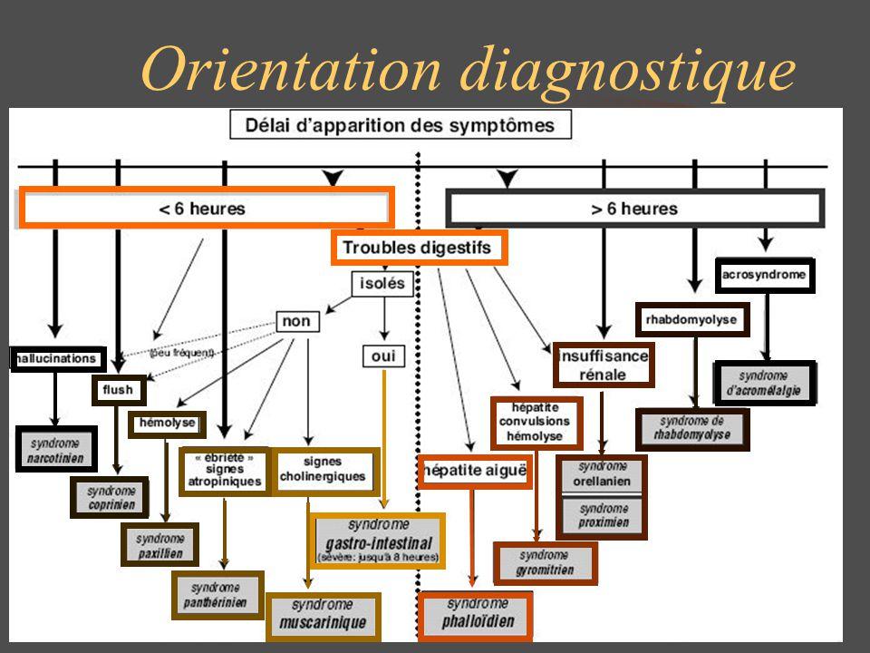 Syndrome proximien Champignons en cause : Amanita Proxima, Amanita smithiana Troubles digestifs 8h après ingestion, puis à J4 insuffisance rénale aiguë oligo-anurique (néphropathie tubulo-interstitielle) et hépatite cytolytique modérée (ASAT, ALAT < 6 N) Evolution vers la guérison Conduite à tenir Traitement symptomatique : rééquilibration hydroélectrolytique, hémodialyse Amanite proxima
