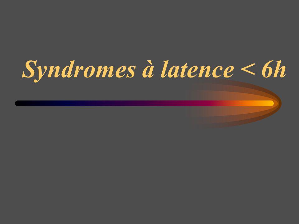 Syndrome de rhabdomyolyse Syndrome en cours d investigation lié à la consommation importante est répétée de Tricholoma equestre Phase d incubation : 24 à 72 h, puis asthénie musculaire et myalgie prédominant à la racine des MI, sueurs profuses sans fièvre.