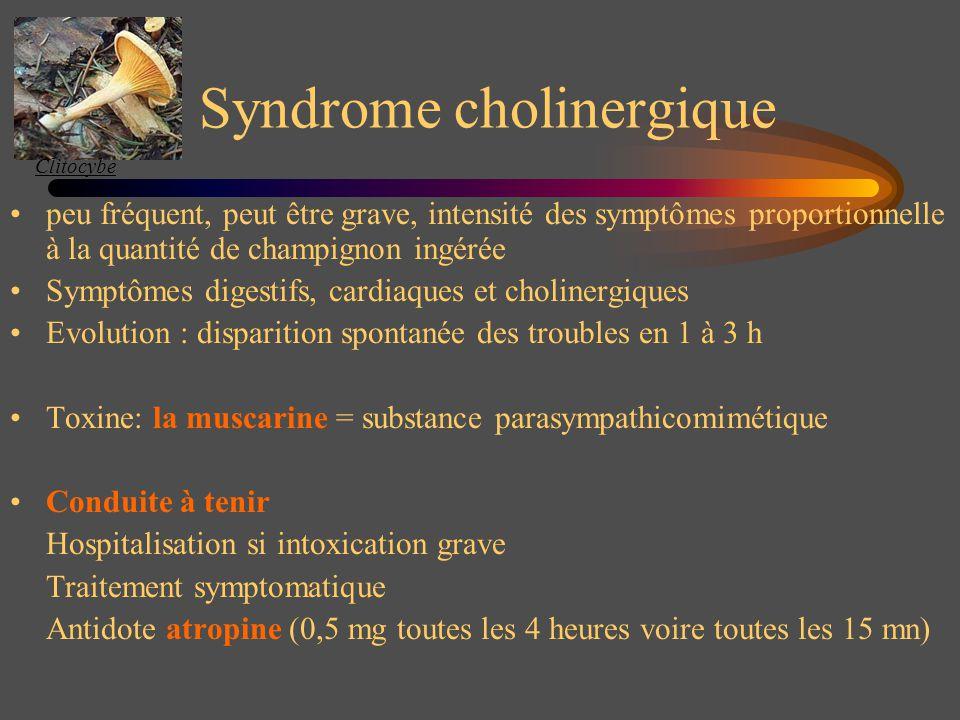 Syndrome cholinergique peu fréquent, peut être grave, intensité des symptômes proportionnelle à la quantité de champignon ingérée Symptômes digestifs,