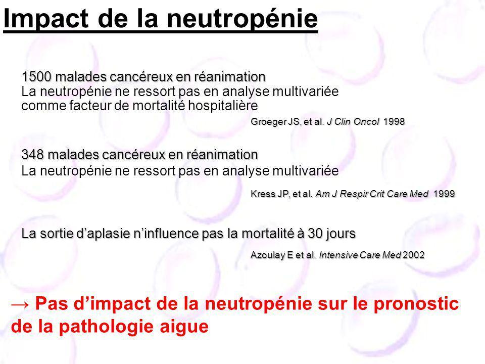 1500 malades cancéreux en réanimation La neutropénie ne ressort pas en analyse multivariée comme facteur de mortalité hospitalière La sortie daplasie