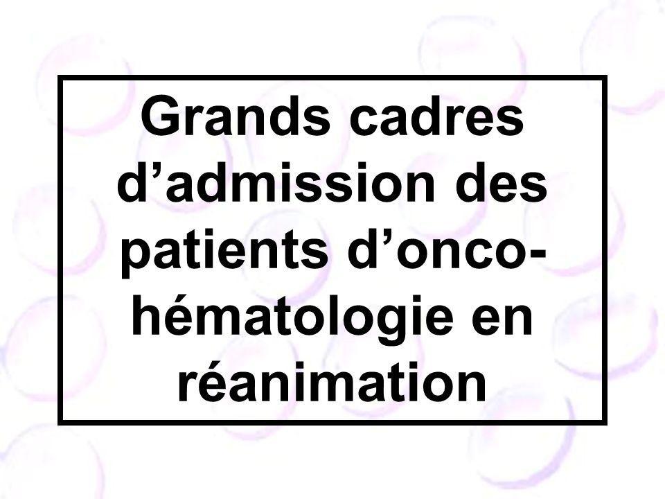 Grands cadres dadmission des patients donco- hématologie en réanimation
