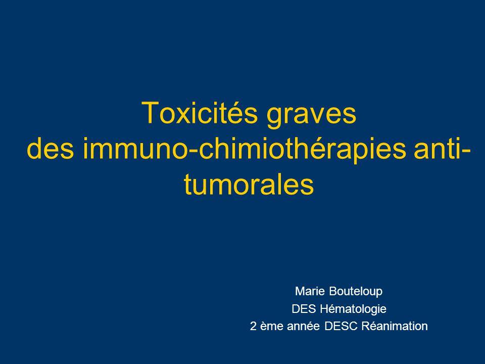 Toxicités graves des immuno-chimiothérapies anti- tumorales Conséquence thérapeutique carcinologique Diagnostic étiologique parfois difficile -Association de chimiothérapies fréquentes -Adjonction fréquentes de corticothérapie -Association à dautres traitements potentiellement toxiques (G_CSF, Tansfusion-Related Acute Lung Injury…) -Délai de survenue toxicité variable (aigue, sub- aigue, chronique) -Une même molécule différentes toxicités sur un même organe (poumon+++) Peu détudes sur les pourcentages de toxicités graves des produits de chimiothérapie (design protocoles variés, doses )