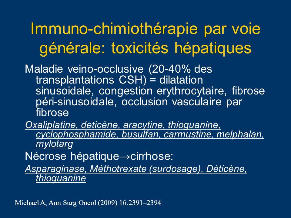Immuno-chimiothérapie par voie générale: toxicités hépatiques Maladie veino-occlusive (20-40% des transplantations CSH) = dilatation sinusoidale, cong