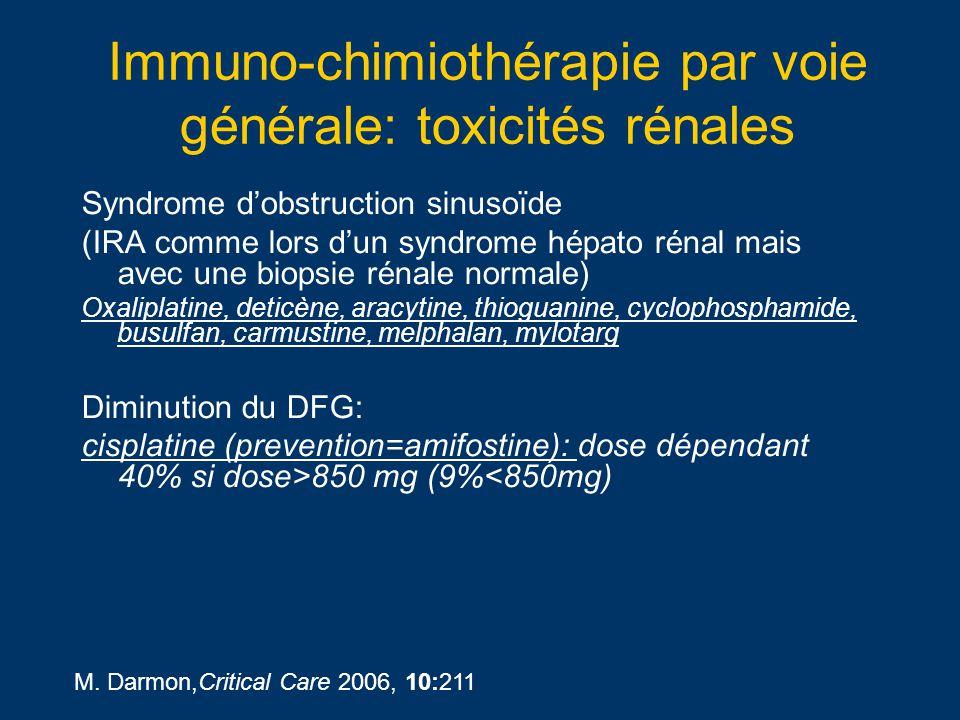 Immuno-chimiothérapie par voie générale: toxicités rénales Syndrome dobstruction sinusoïde (IRA comme lors dun syndrome hépato rénal mais avec une bio