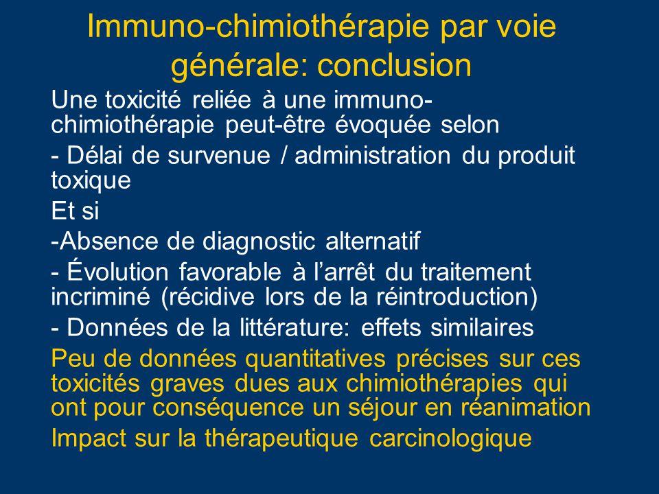 Immuno-chimiothérapie par voie générale: conclusion Une toxicité reliée à une immuno- chimiothérapie peut-être évoquée selon - Délai de survenue / adm
