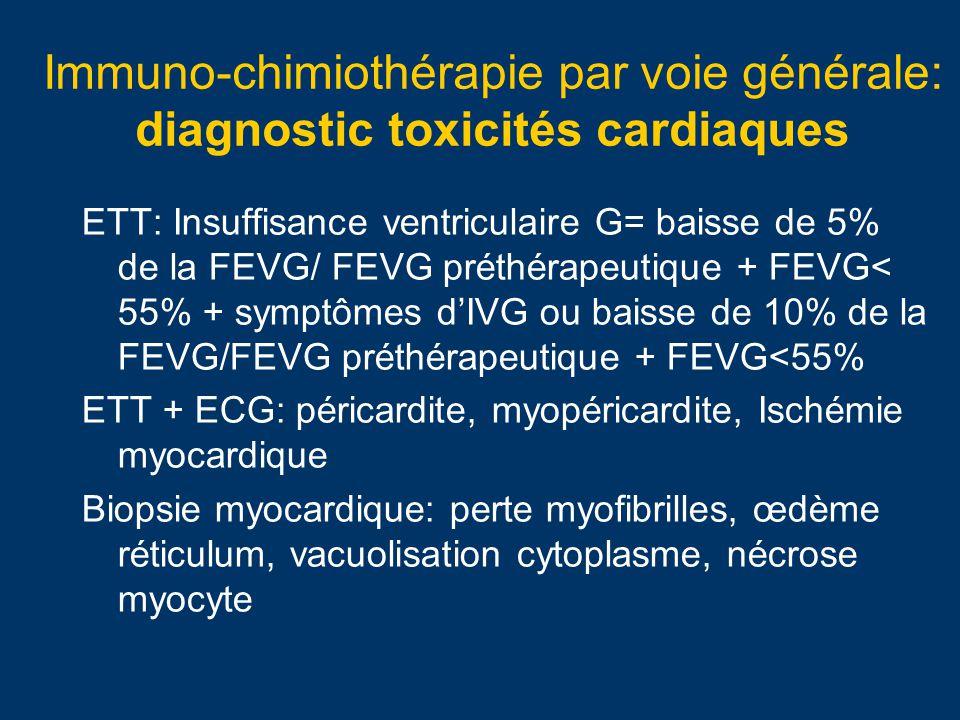 Immuno-chimiothérapie par voie générale: toxicités cardiaques aigues (1an) Insuffisance ventriculaire G: Anthracyclines: non réversible, radicaux libres/cardioxane®, apoptose… Alkylants: reversible.