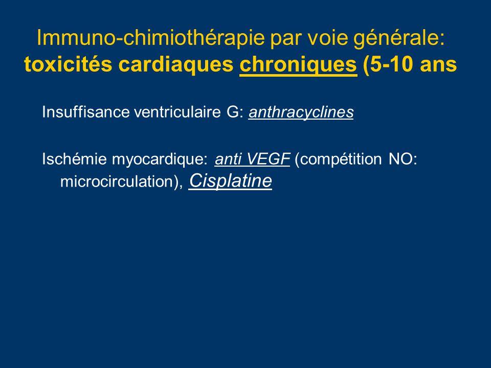 Immuno-chimiothérapie par voie générale: toxicités cardiaques chroniques (5-10 ans Insuffisance ventriculaire G: anthracyclines Ischémie myocardique: