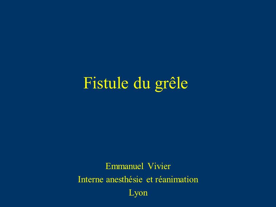 Fistule du grêle Emmanuel Vivier Interne anesthésie et réanimation Lyon