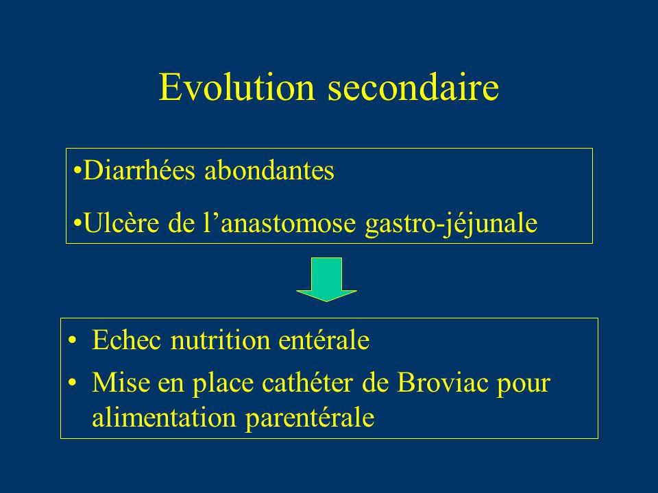 Evolution secondaire Echec nutrition entérale Mise en place cathéter de Broviac pour alimentation parentérale Diarrhées abondantes Ulcère de lanastomo