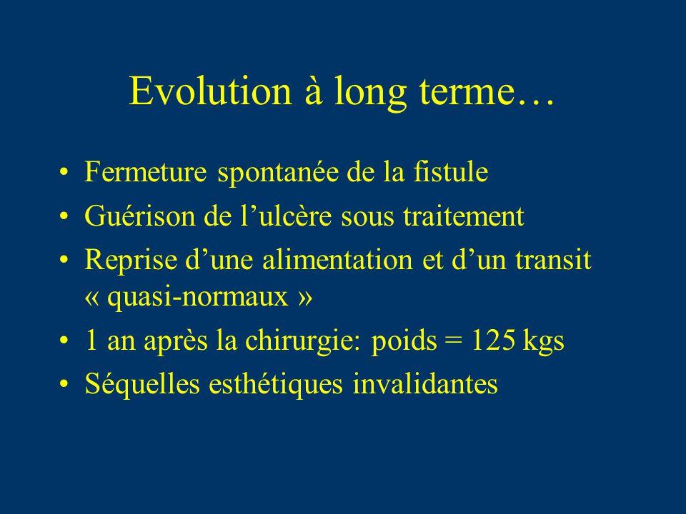 Evolution à long terme… Fermeture spontanée de la fistule Guérison de lulcère sous traitement Reprise dune alimentation et dun transit « quasi-normaux