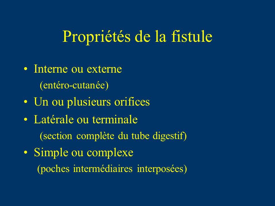 Propriétés de la fistule Interne ou externe (entéro-cutanée) Un ou plusieurs orifices Latérale ou terminale (section complète du tube digestif) Simple