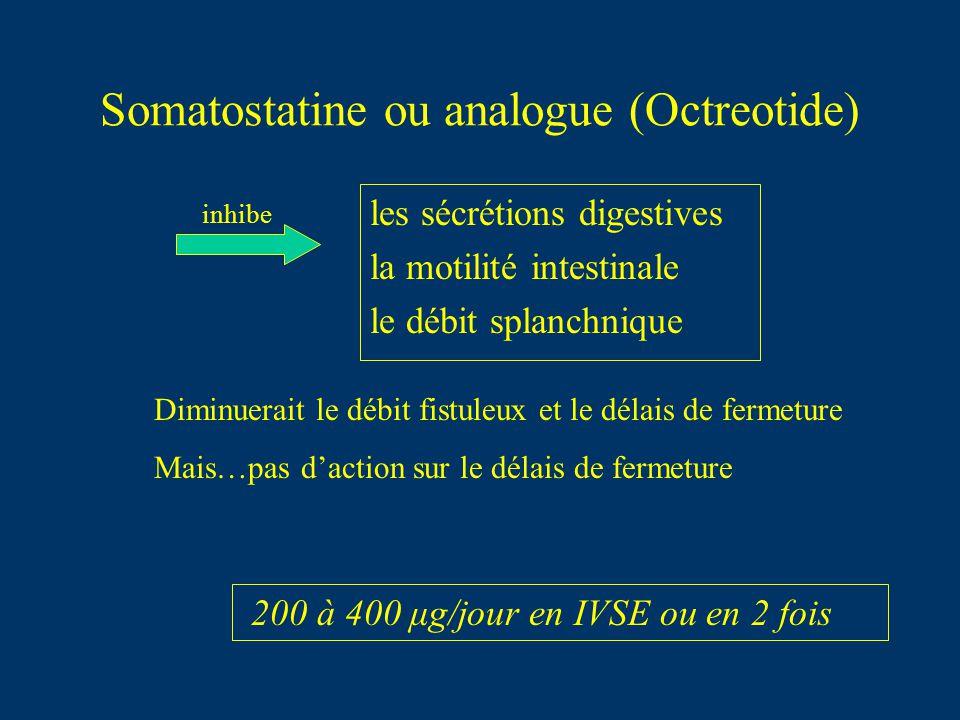 Somatostatine ou analogue (Octreotide) 200 à 400 μg/jour en IVSE ou en 2 fois les sécrétions digestives la motilité intestinale le débit splanchnique