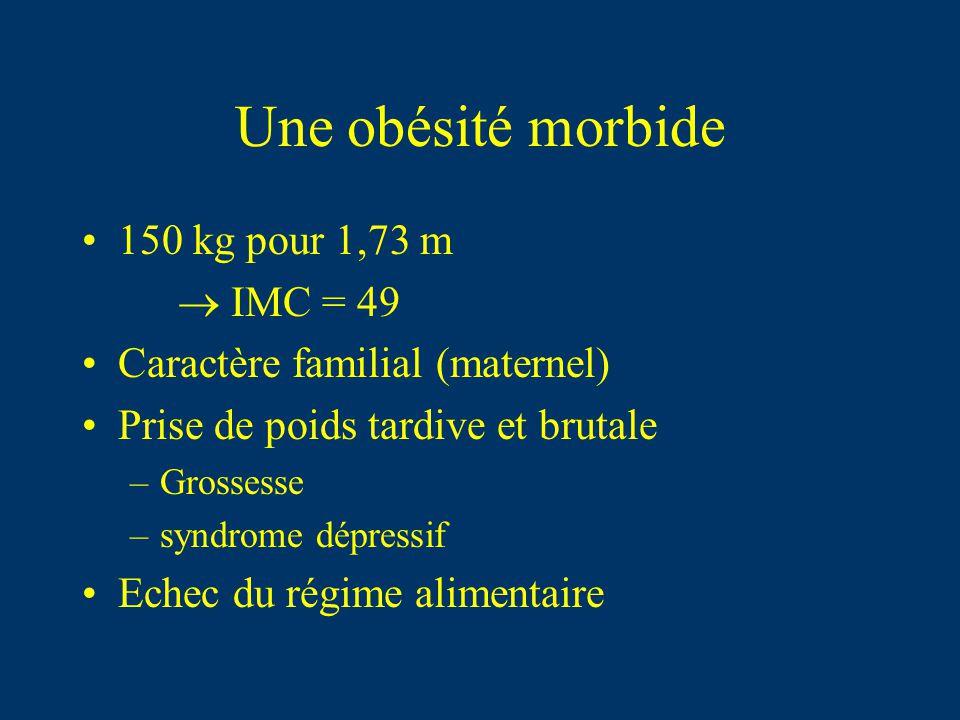 Une obésité morbide 150 kg pour 1,73 m IMC = 49 Caractère familial (maternel) Prise de poids tardive et brutale –Grossesse –syndrome dépressif Echec d