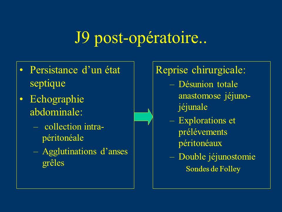 J9 post-opératoire.. Persistance dun état septique Echographie abdominale: – collection intra- péritonéale –Agglutinations danses grêles Reprise chiru