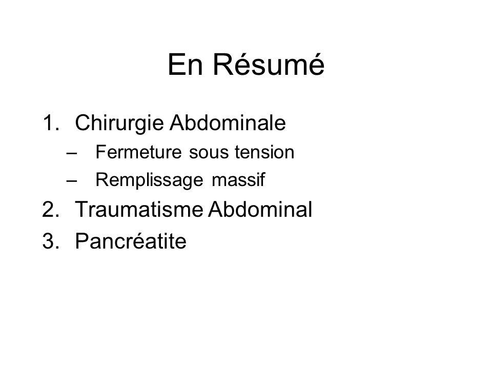 En Résumé 1.Chirurgie Abdominale –Fermeture sous tension –Remplissage massif 2.Traumatisme Abdominal 3.Pancréatite