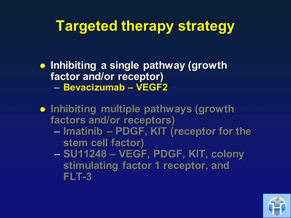 Targeted therapy strategy Inhibiting a single pathway (growth factor and/or receptor) Inhibiting a single pathway (growth factor and/or receptor) –Bev
