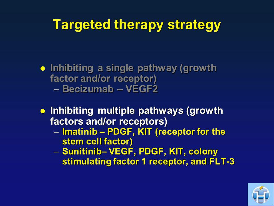 Targeted therapy strategy Inhibiting a single pathway (growth factor and/or receptor) Inhibiting a single pathway (growth factor and/or receptor) –Bec