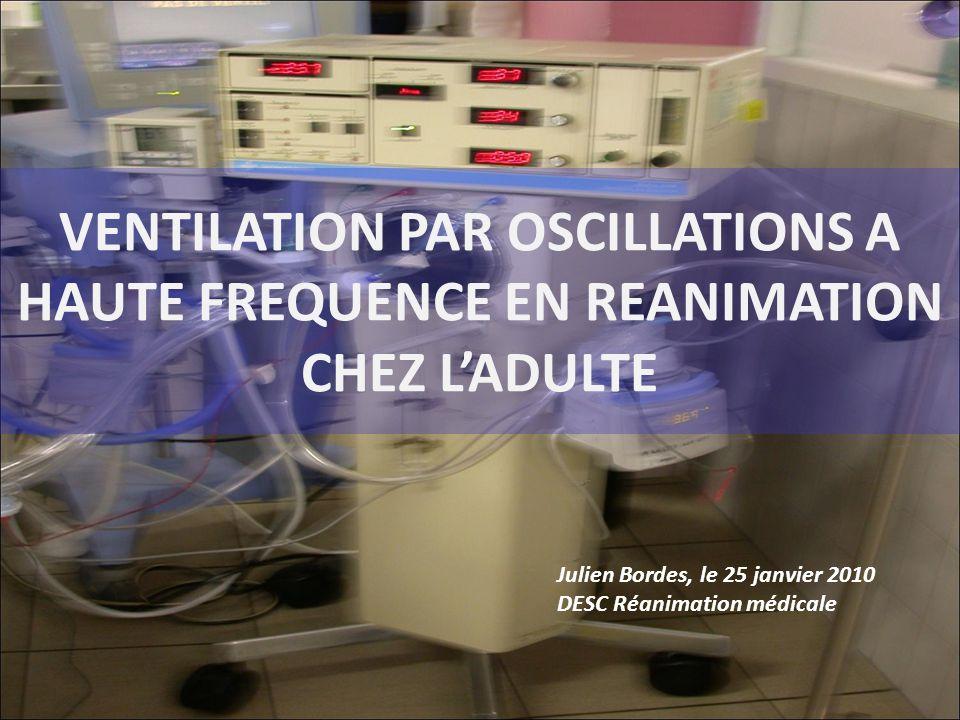 DEFINITIONS VENTILATION PAR OSCILLATIONS A HAUTE FREQUENCE = HFO = HIGH FREQUENCY OSCILLATORY VENTILATION VENTILATION A HAUTE FREQUENCE: > 100/min Fessler H et al, Resp Care 2007 AUTRES TYPES DE VENTILATION A HAUTE FREQUENCE (HF) – VENTILATION PAR PRESSION POSITIVE A HF – VENTILATION PAR JET A HF – VENTILATION PAR PERCUTION A HF