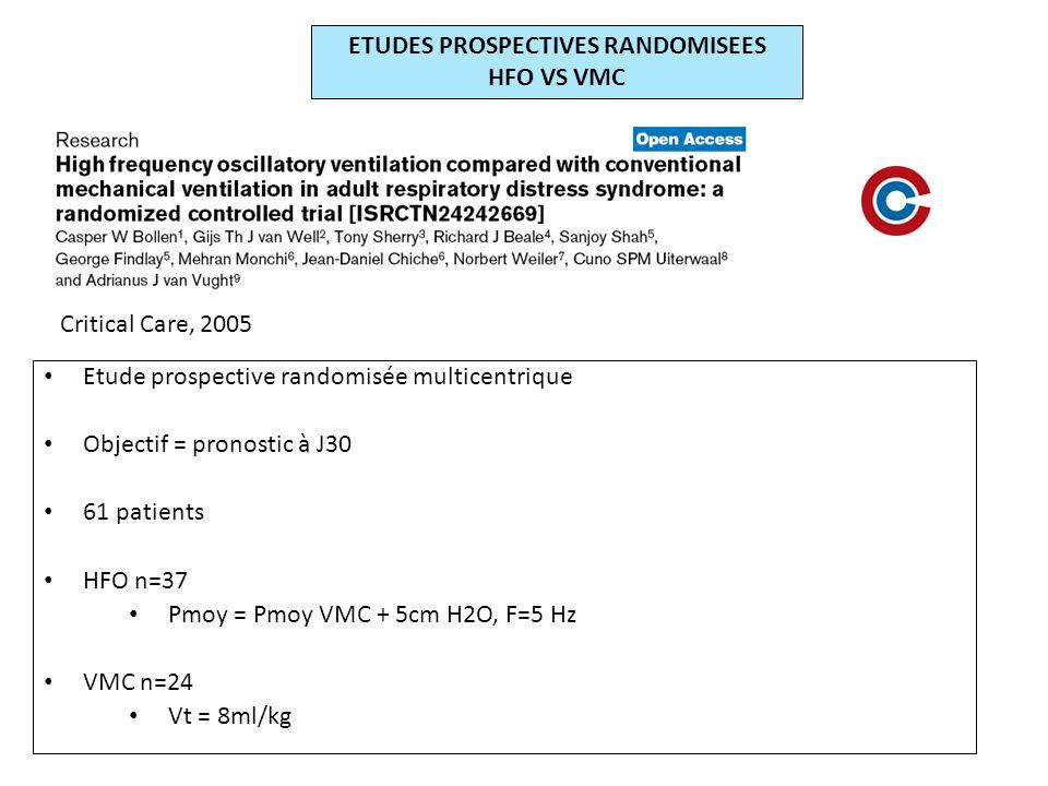 ETUDES PROSPECTIVES RANDOMISEES HFO VS VMC Etude prospective randomisée multicentrique Objectif = pronostic à J30 61 patients HFO n=37 Pmoy = Pmoy VMC + 5cm H2O, F=5 Hz VMC n=24 Vt = 8ml/kg Critical Care, 2005