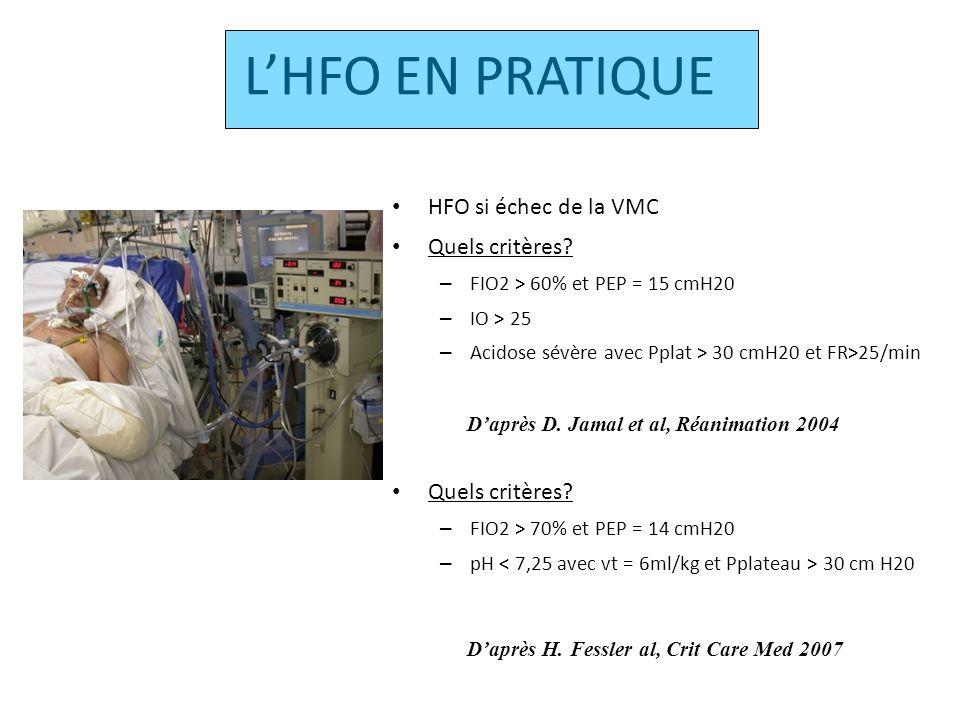 HFO: REGLAGES FIO2 1 Pression moyenne Pmoy VMC + 5 Fréquence 5Hz DeltaP = PaCO2 + 20cmH20 TI =33% Débit de 40L/min