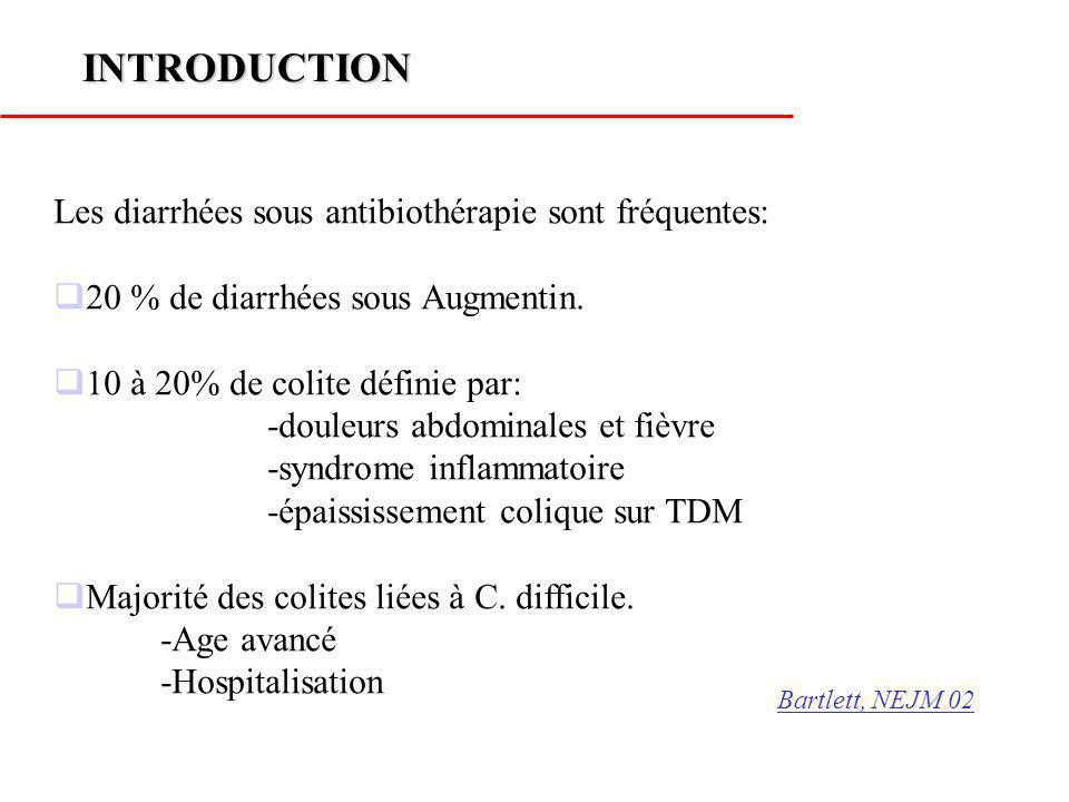 INTRODUCTION Les diarrhées sous antibiothérapie sont fréquentes: 20 % de diarrhées sous Augmentin. 10 à 20% de colite définie par: -douleurs abdominal