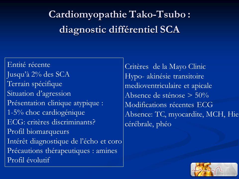 Cardiomyopathie Tako-Tsubo : diagnostic différentiel SCA Entité récente Jusquà 2% des SCA Terrain spécifique Situation dagression Présentation clinique atypique : 1-5% choc cardiogénique ECG: critères discriminants.