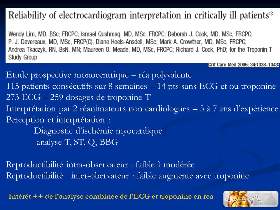 Intérêt ++ de lanalyse combinée de lECG et troponine en réa Etude prospective monocentrique – réa polyvalente 115 patients consécutifs sur 8 semaines