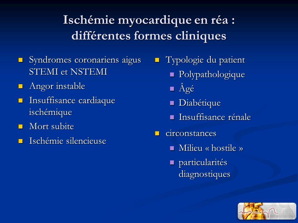 Ischémie myocardique en réa : différentes formes cliniques Syndromes coronariens aigus STEMI et NSTEMI Syndromes coronariens aigus STEMI et NSTEMI Ang