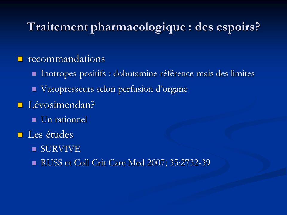 Traitement pharmacologique : des espoirs? recommandations recommandations Inotropes positifs : dobutamine référence mais des limites Inotropes positif
