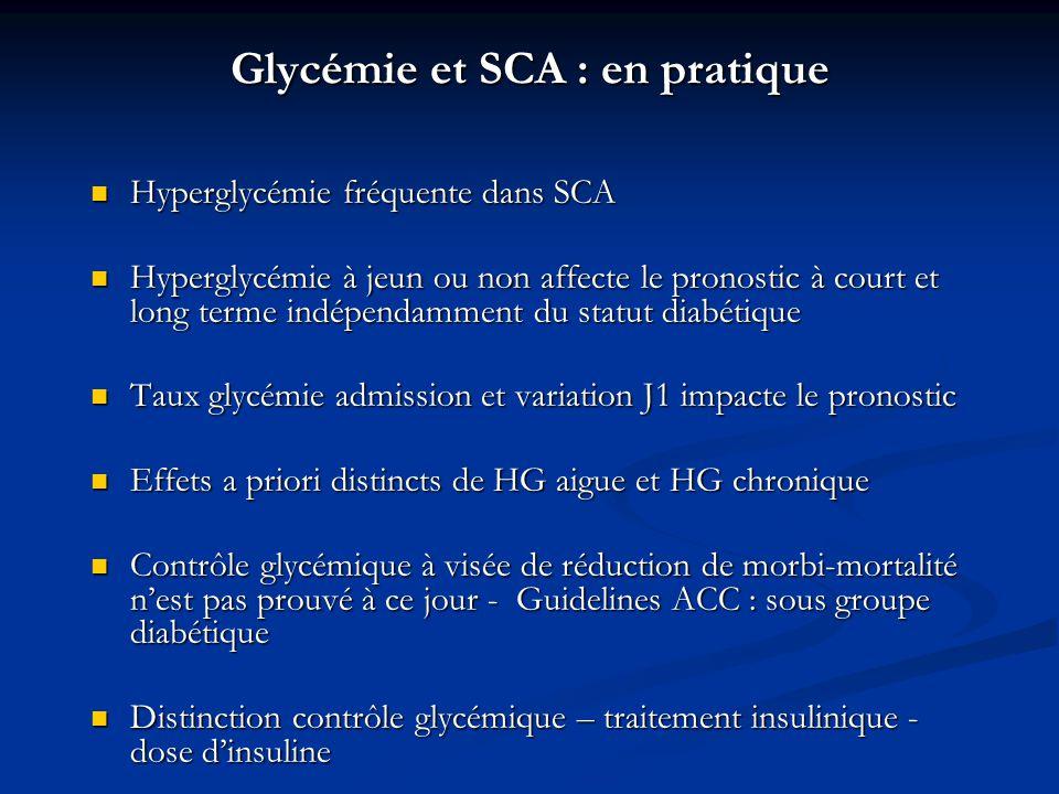 Glycémie et SCA : en pratique Hyperglycémie fréquente dans SCA Hyperglycémie fréquente dans SCA Hyperglycémie à jeun ou non affecte le pronostic à cou