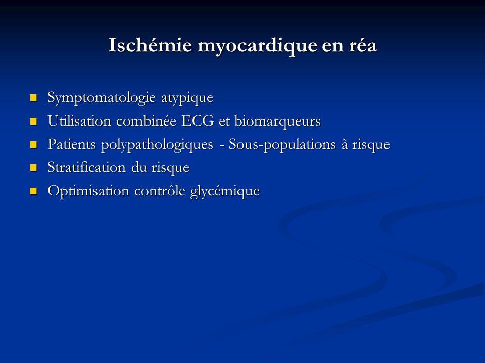 Ischémie myocardique en réa Symptomatologie atypique Symptomatologie atypique Utilisation combinée ECG et biomarqueurs Utilisation combinée ECG et bio