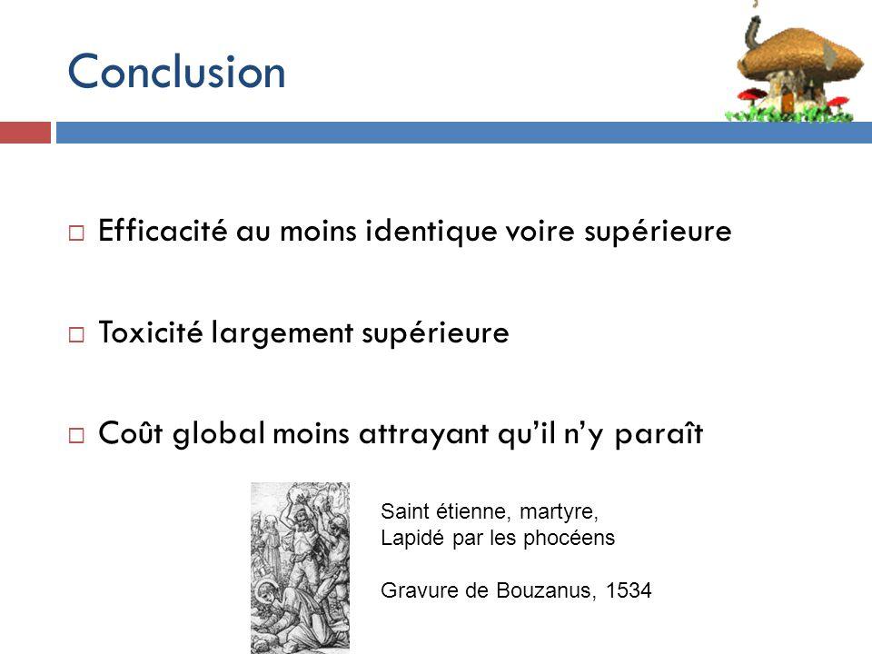 Conclusion Efficacité au moins identique voire supérieure Toxicité largement supérieure Coût global moins attrayant quil ny paraît Saint étienne, martyre, Lapidé par les phocéens Gravure de Bouzanus, 1534