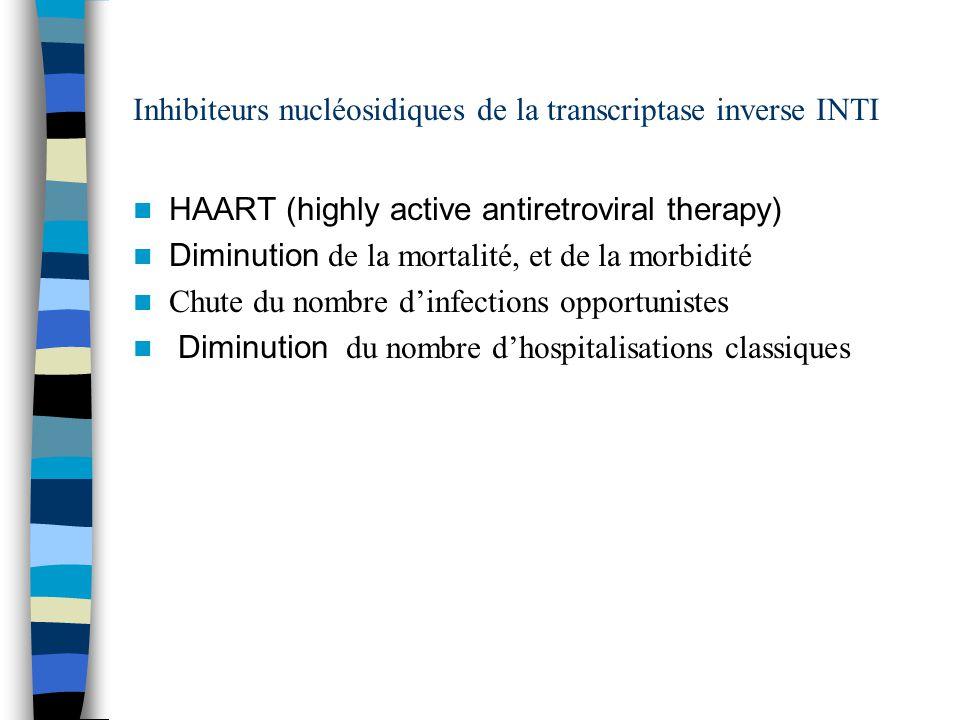 Inhibiteurs nucléosidiques de la transcriptase inverse INTI HAART (highly active antiretroviral therapy) Diminution de la mortalité, et de la morbidité Chute du nombre dinfections opportunistes Diminution du nombre dhospitalisations classiques