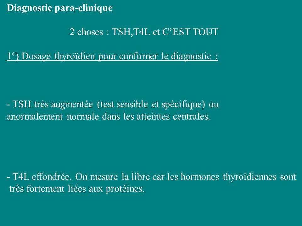Diagnostic para-clinique 2 choses : TSH,T4L et CEST TOUT 1°) Dosage thyroïdien pour confirmer le diagnostic : - TSH très augmentée (test sensible et s
