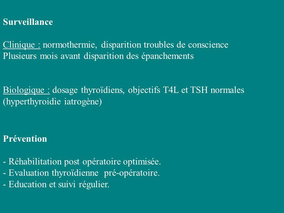 Surveillance Clinique : normothermie, disparition troubles de conscience Plusieurs mois avant disparition des épanchements Biologique : dosage thyroïd
