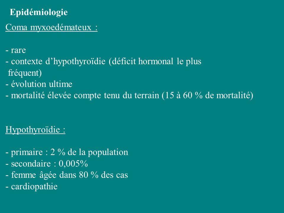 Epidémiologie Coma myxoedémateux : - rare - contexte dhypothyroïdie (déficit hormonal le plus fréquent) - évolution ultime - mortalité élevée compte t