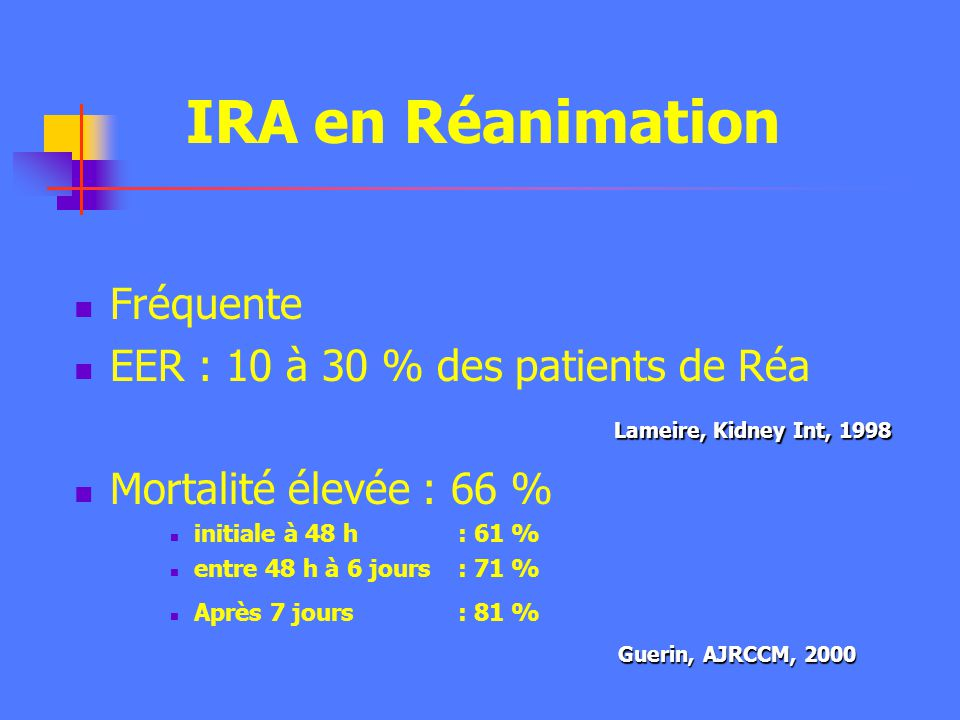 IRA en Réanimation Fréquente EER : 10 à 30 % des patients de Réa Mortalité élevée : 66 % initiale à 48 h : 61 % entre 48 h à 6 jours : 71 % Après 7 jours : 81 % Lameire, Kidney Int, 1998 Guerin, AJRCCM, 2000