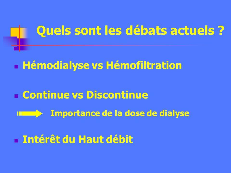 Hémodialyse vs Hémofiltration Continue vs Discontinue Intérêt du Haut débit Quels sont les débats actuels .