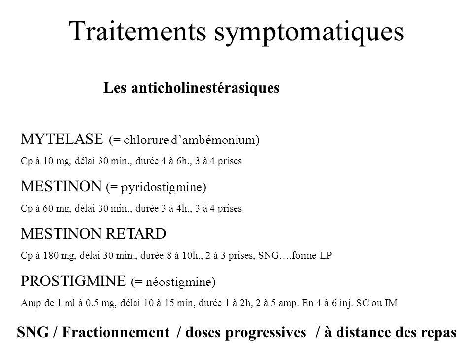Traitements symptomatiques Les anticholinestérasiques MYTELASE (= chlorure dambémonium) Cp à 10 mg, délai 30 min., durée 4 à 6h., 3 à 4 prises MESTINO