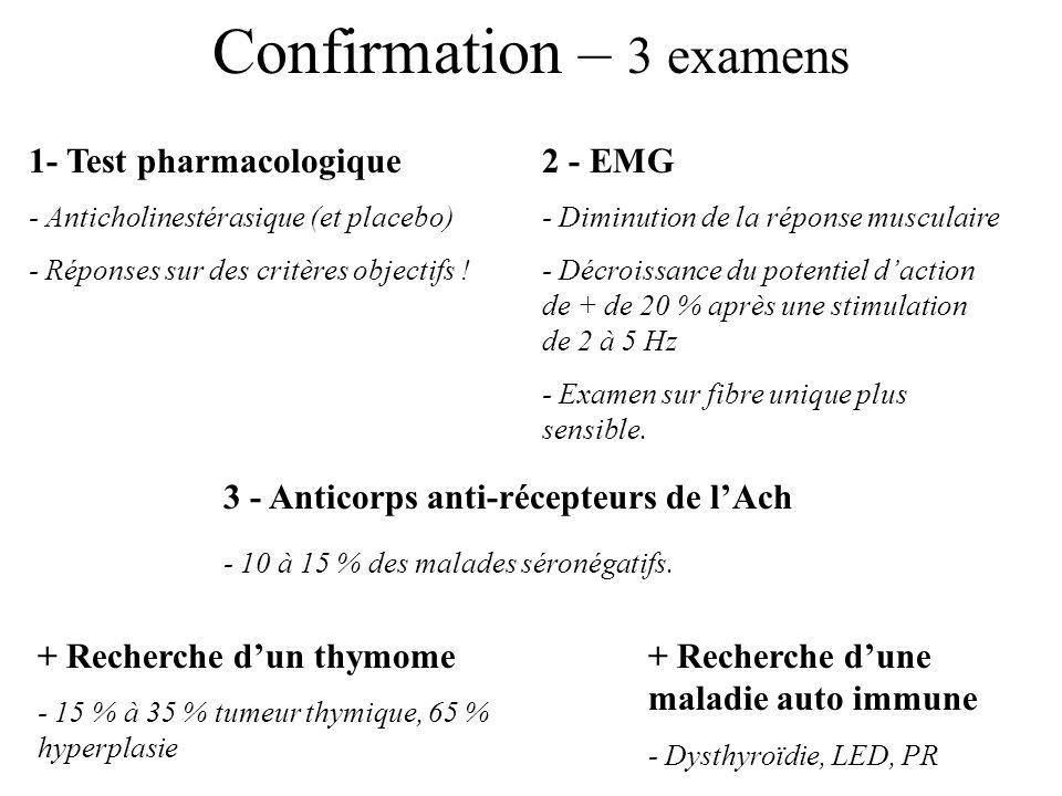 Confirmation – 3 examens 1- Test pharmacologique - Anticholinestérasique (et placebo) - Réponses sur des critères objectifs ! 2 - EMG - Diminution de