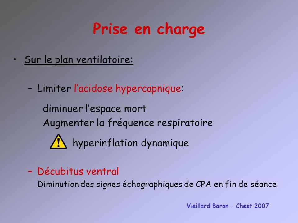Prise en charge Sur le plan ventilatoire: –Limiter lacidose hypercapnique: diminuer lespace mort Augmenter la fréquence respiratoire hyperinflation dy