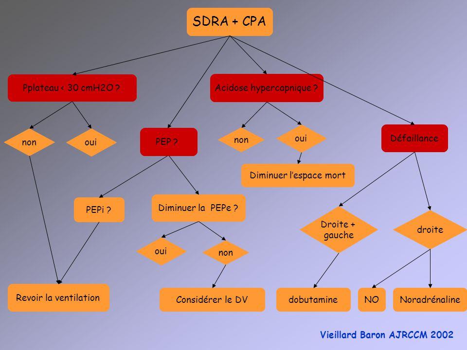 SDRA + CPA Pplateau < 30 cmH2O ? PEP ? PEPi ? Diminuer la PEPe ? oui non Considérer le DV Acidose hypercapnique ? oui non Diminuer lespace mort non ou