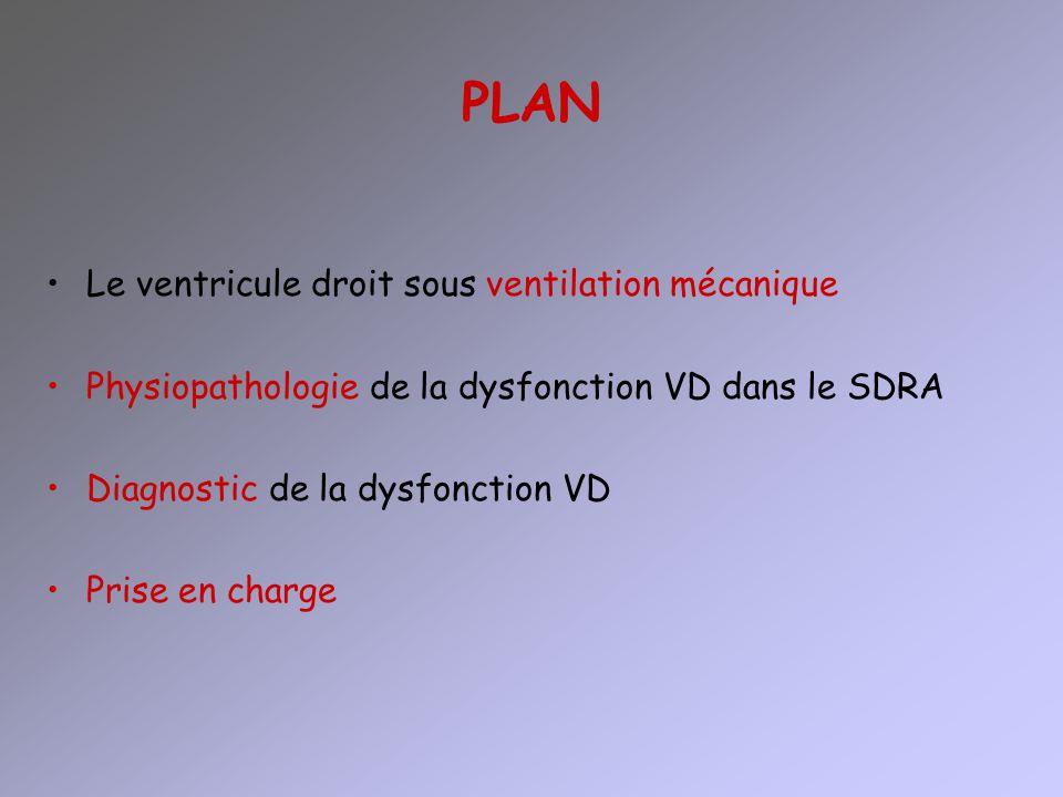 PLAN Le ventricule droit sous ventilation mécanique Physiopathologie de la dysfonction VD dans le SDRA Diagnostic de la dysfonction VD Prise en charge